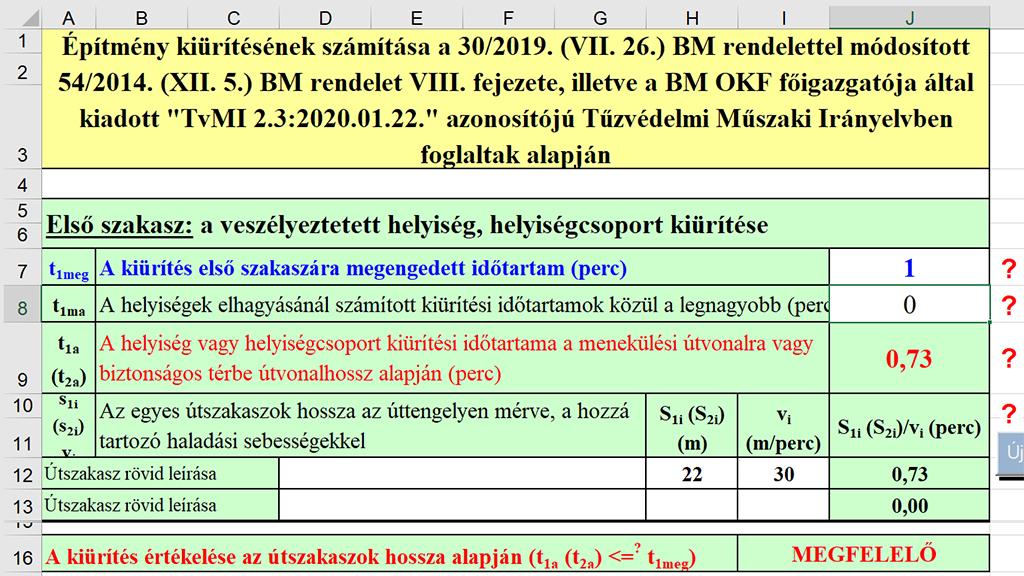 Tűzmegelőzési számítások Excelben