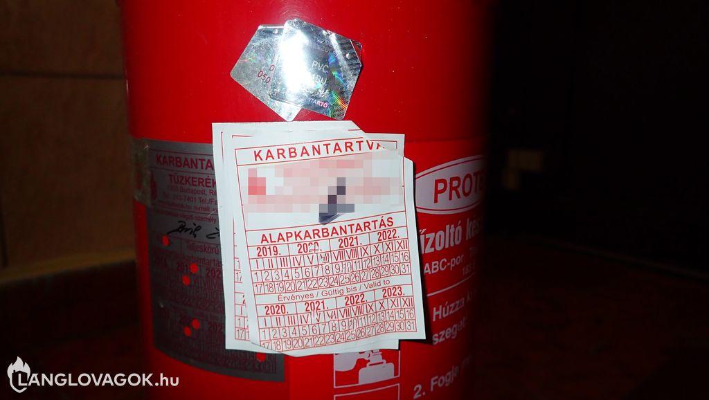 Érvénytelen karbantartás a tűzoltó készüléken